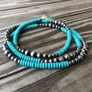 Sterling 'Navajo Pearl' & Turquoise LONG Necklace